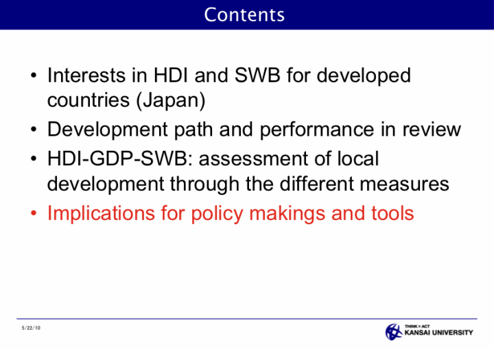 Assessment of Local Development through HDI and Subjective Well Being for Public Policy - page 36: Contents - Implications for policy makings and tools