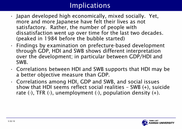 Assessment of Local Development through HDI and Subjective Well Being for Public Policy - page 37: Implications