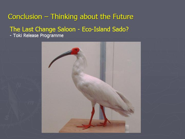 Page 22 : Conclusion - Thinking about the Future - Eco-Island Sado: the Toki Release Programme
