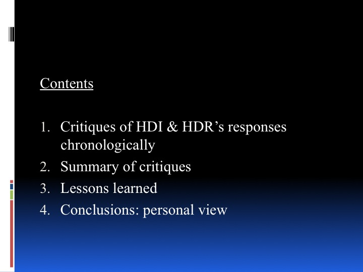 Towards a New HDI - historical review and future perspective - page 2: Table of Contents