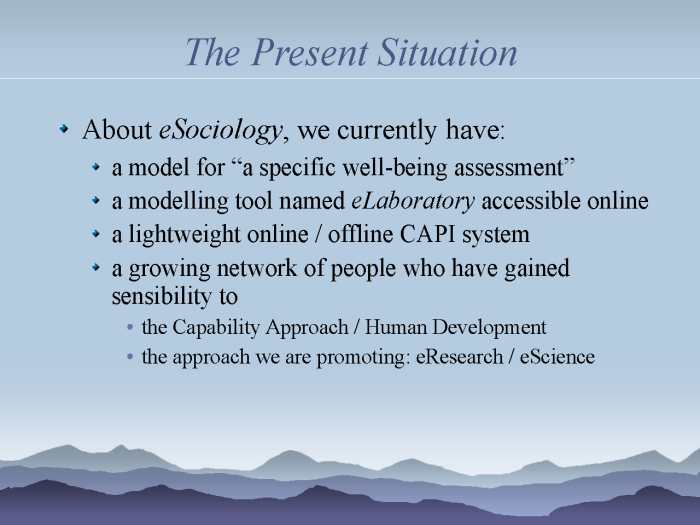 eResearch: Strategies to model and monitor human progress - page 4: the present situation