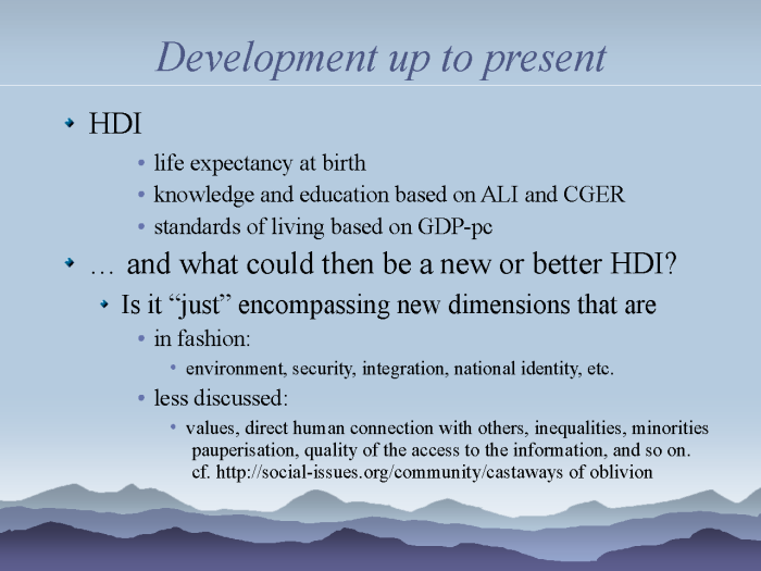 eResearch: Strategies to model and monitor human progress - page 10: the HDI - development up to present
