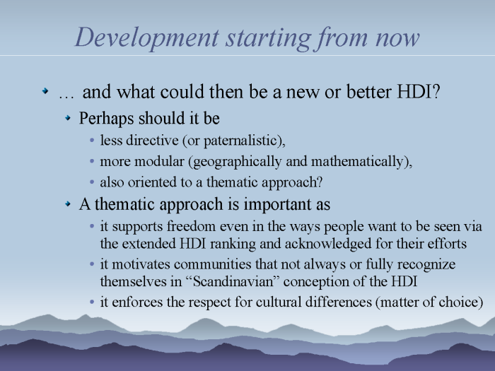 eResearch: Strategies to model and monitor human progress - page 13: new HDI - a thematic approach