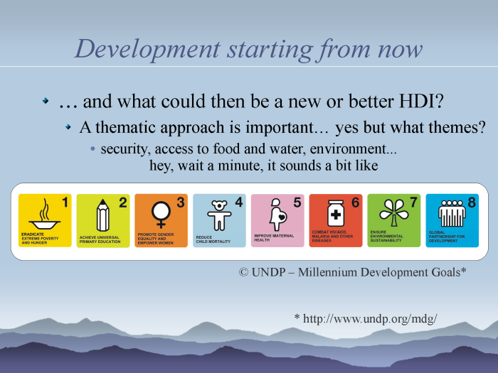 eResearch: Strategies to model and monitor human progress - page 14: new HDI - the Millennium Development Goals